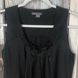 Vince black silk sleeveless jeweled top